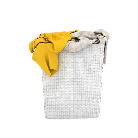 Pile of dirty clothes in a washing basket without shadow isolated on white background 3d render