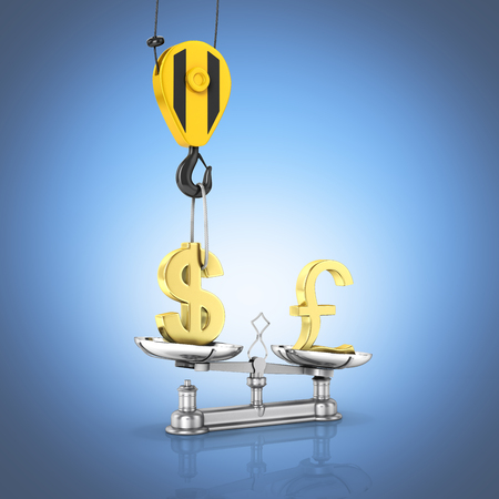 Concept of exchange rate support dollar vs pound The crane pulls the dollar up and lowers the pound sterling on blue gradient background 3d