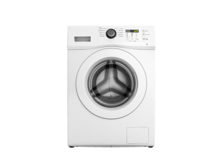 Washing machine without shadow on white background 3d illustration
