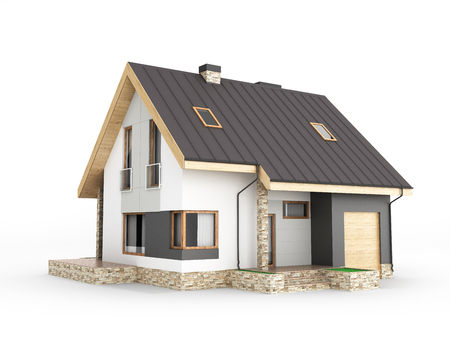 Illustration of a modern house with a garage isolated on white background 3d render