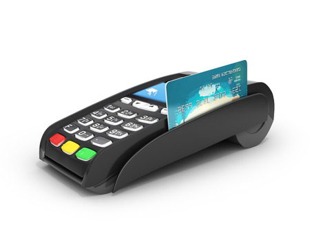 card payment terminal POS terminal with credit card isolated on white background 3d render