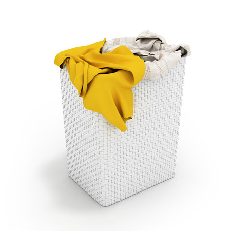 Pile of dirty clothes in a washing basket isolated on white background 3d render