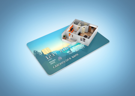 Concept of purchase or payment for housing illustration of Apartment layout located on a credit card 3d render blue gradient background