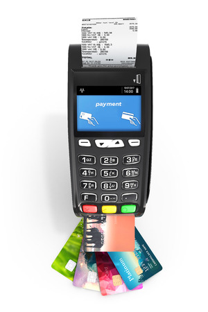 card payment terminal POS terminal with credit cards and receipt top view isolated on white background 3d render Foto de archivo