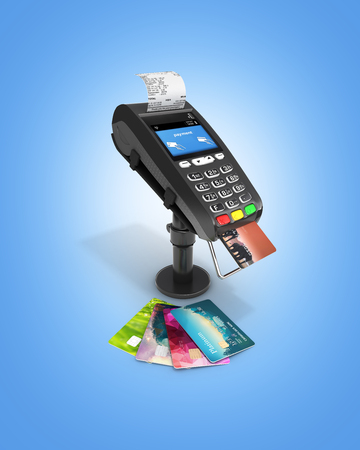 Card payment terminal POS terminal with credit cards and receipt isolated on blue gradient background 3d render