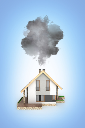 Ecology concept Illustration of pollution by exhaust gases Modern house producing a lot of smoke isolated on blue gradient background 3d render