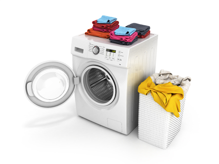 Concept of washing clothes Washing machine with an open door colored towels and washing basket with dirty clothes isolated on white background 3d render