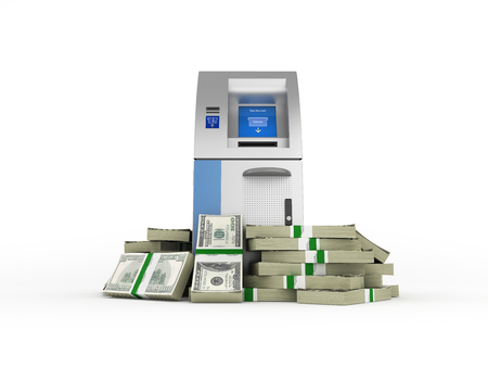ATM surrounded by 100 dollar bankrolls Bank Cash Machine in pile of money american dollar bills isolated on white background 3d