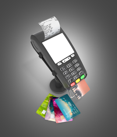 card payment terminal POS terminal with credit cards and receipt top view isolated on black gradient background 3d render