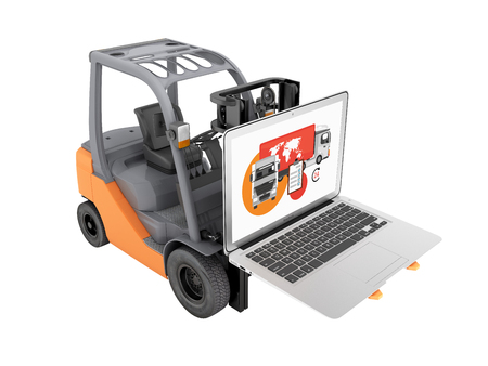 Concept logistics of loading and delivery The forklift lifts the laptop isolated on white background 3d without shadow