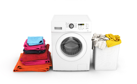 Concept of washing clothes Washing machine with colored towels and washing basket with dirty clothes isolated on white background 3d render  Stockfoto