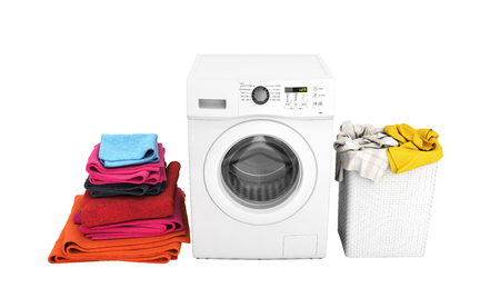 Concept of washing clothes Washing machine with colored towels and washing basket with dirty clothes isolated on white background 3d render without shadow