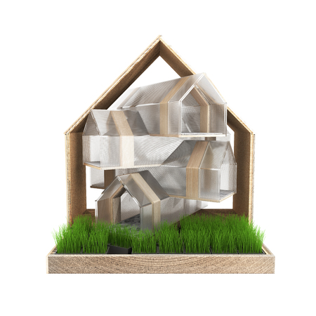 Modern cat house with stalks of grass isolated on white background 3d render without shadow