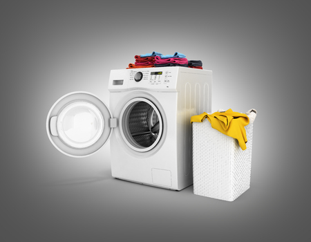 Concept of washing clothes Washing machine with colored towels and washing basket with dirty clothes isolated on black gradient background 3d render