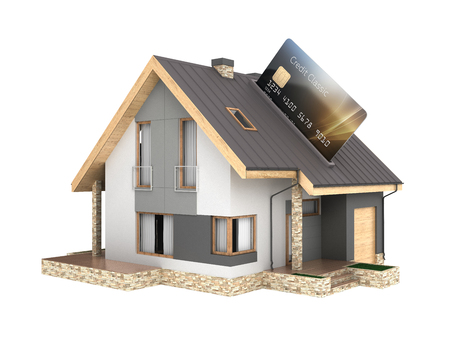 Concept of purchase or payment for housing Illustration of a house as a pos terminal with credit card isolated on white background 3d render without shadow Reklamní fotografie