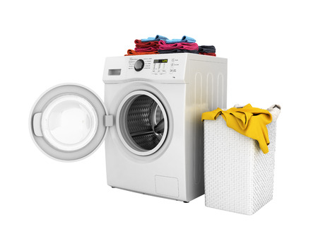 Concept of washing clothes Washing machine with colored towels and washing basket with dirty clothes isolated on white background 3d render without shadow Stock Photo