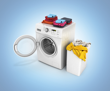 Concept of washing clothes Washing machine with an open door colored towels and washing basket with dirty clothes isolated on blue gradient background 3d render