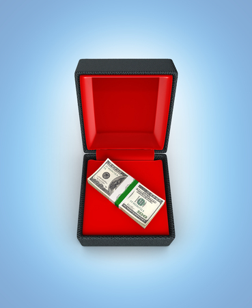 Stack of money american hundred dollar bills in gift box with red material isolated on blue gradient background 3d 스톡 콘텐츠