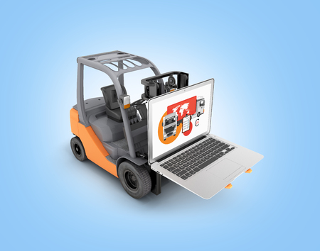 Concept logistics of loading and delivery The forklift lifts the laptop isolated on blue background 3d