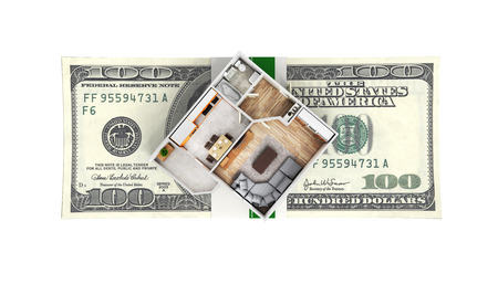 Concept of purchase or payment for housing Apartment layout with a stack of money american hundred dollar bills isolated on white background 3d without shadow
