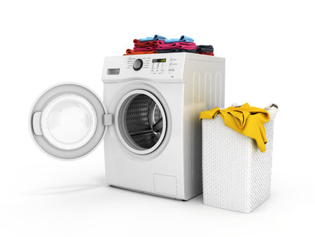 Concept of washing clothes Washing machine with colored towels and washing basket with dirty clothes isolated on white background 3d render