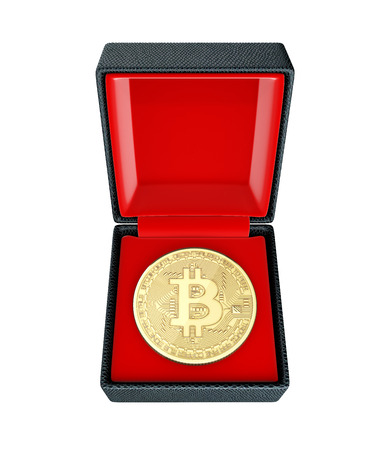 Bitcoin 3D isometric Physical coin in a gift box on white background 3d illustration without shadow