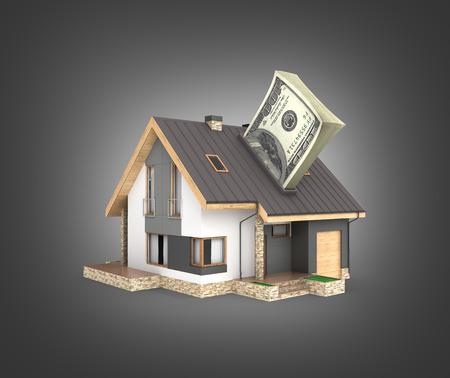 Concept of purchase or payment for housing House with a stack of money american hundred dollar bills isolated on black gradient background 3d 스톡 콘텐츠