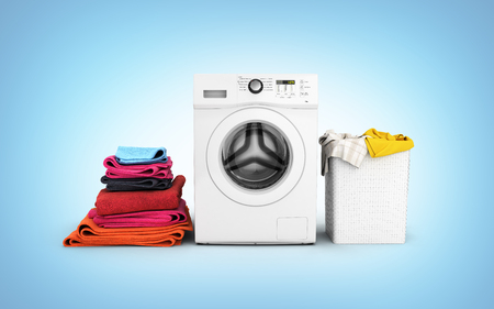 Concept of washing clothes Washing machine with colored towels and washing basket with dirty clothes isolated on blue gradient background 3d render Stockfoto