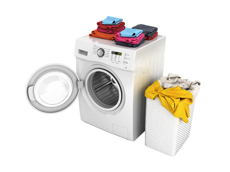 Concept of washing clothes Washing machine with an open door colored towels and washing basket with dirty clothes isolated on white background 3d render without shadow