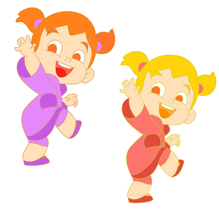 Vector illustration of a set of a girl with two tails smiling and saying goodbye