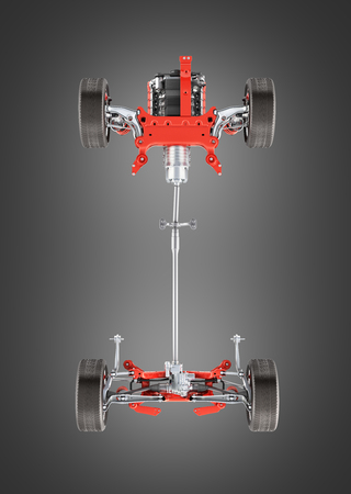 Suspension of the car with wheel and engine Undercarriage in detail bottom view isolated on black gradient background 3d
