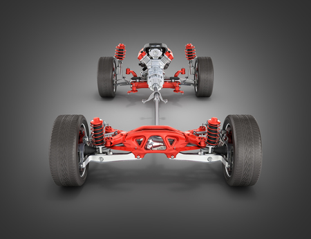 Suspension of the car with wheel and engine Undercarriage in detail isolated on black gadient background 3d