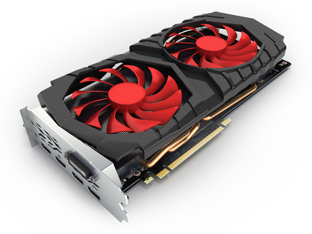 Video Graphic card GPU isolated on white background 3d render Banque d'images