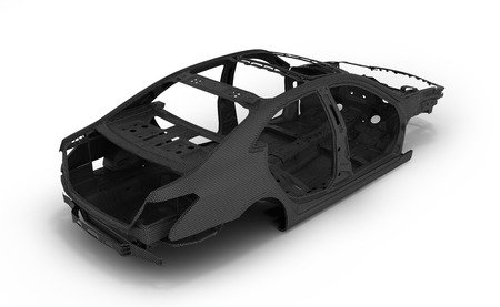 Carbon body car isolated on white 3d illustration Stock Photo
