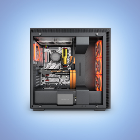 Open computer with red lighting effects and water cooled cooling system on blue gradient background 3d render Stock Photo
