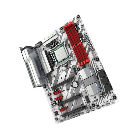 Motherboard with realistic chips and slots isolated on white background 3d render without shadow