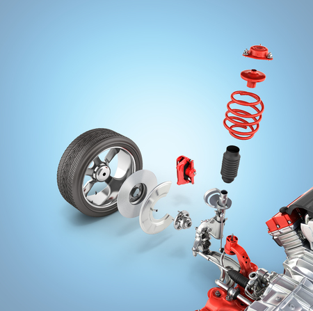 Suspension of the car with wheel and engine Undercarriage in detail isolated on blue gradient background 3d
