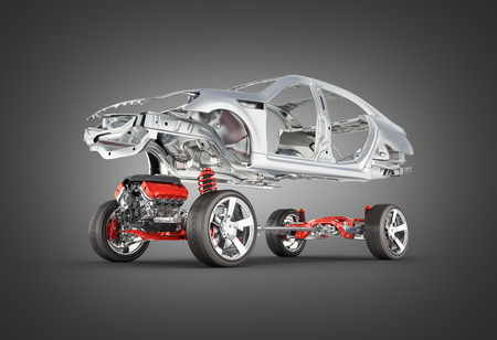 Body and suspension of the car with wheel and engine Undercarriage with bodycar in detail isolated on black gradient background 3d