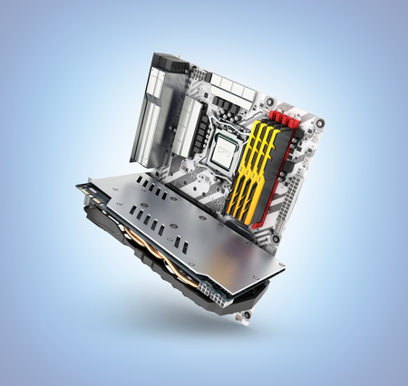 Motherboard complete with RAM and video card solated on blue gradient background 3d render Banco de Imagens