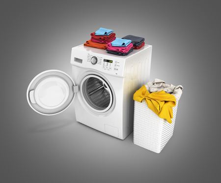 Concept of washing clothes Washing machine with an open door colored towels and washing basket with dirty clothes isolated on black gradient background 3d render