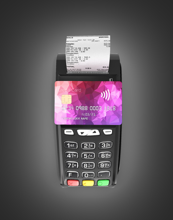 payment touch concept POS terminal with chek and credit card on it isolated on black gradient background 3d render