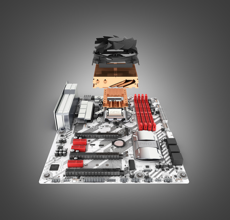 Motherboard complete with processor and cooling system in disassembled form isolated on black gradient background 3d render