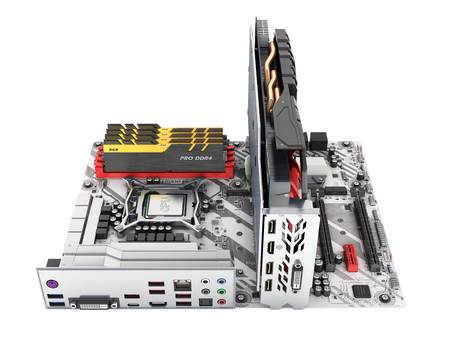 Motherboard complete with RAM and video card solated on white background 3d render without shadow