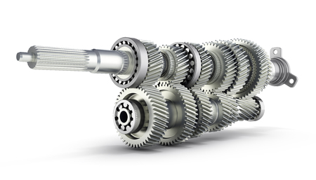 Automotive transmission gearbox Gears inside on white background 3d render Stok Fotoğraf