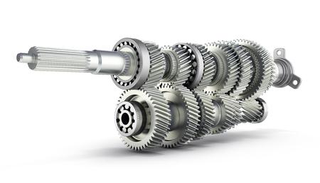 Boîte de vitesses de transmission automobile Engrenages à l'intérieur sur fond blanc rendu 3D