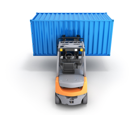 Forklift handling the cargo shipping container isolated on white background 3d render