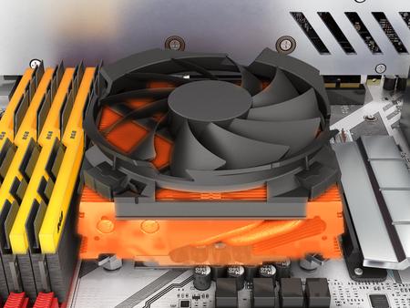 Simulation of CPU overheating view of the processor cooling system 3d render