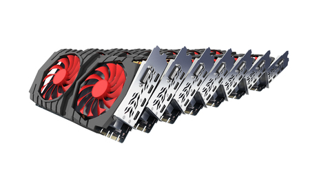 Video Graphic cards GPU laid out in a row isolated on white background 3d render without shadow