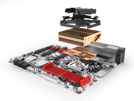 Motherboard complete withprocessor and cooling system in disassembled form isolated on white background 3d render with blur
