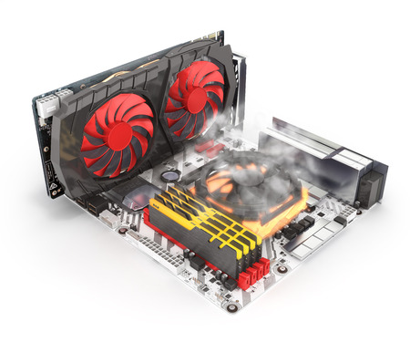 Simulation of CPU overheating Motherboard complete with RAM and video card solated on white background 3d render Stock Photo